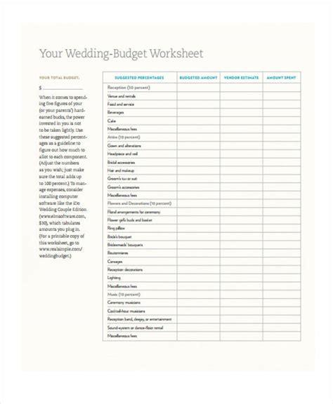 wedding budget format 6 wedding budget form sle free sle exle