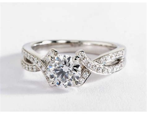 intertwined pav 233 engagement ring in 18k white gold