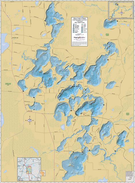 three lakes chain wall map