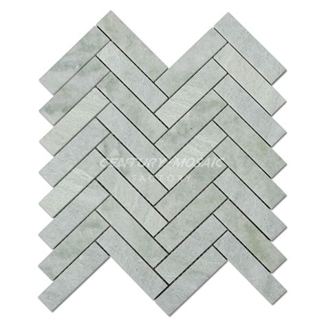 1 X3 Gray Ceramic Tile by Ming Green Herringbone Marble Mosaic Tile Collection