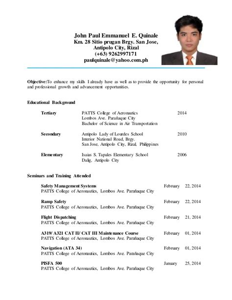 Resume Sle Format For Ojt Resume For Ojt Work