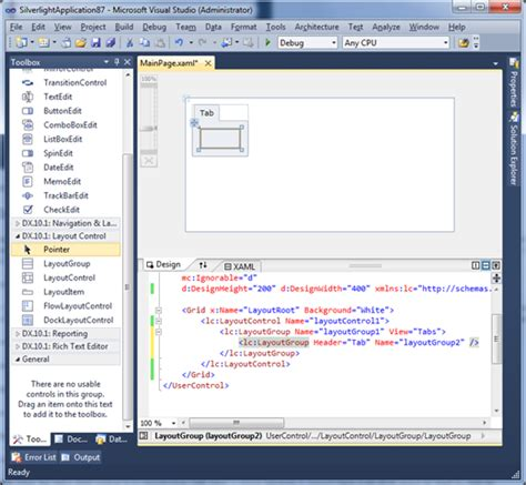 layoutgroup header silverlight layout control design time support in visual