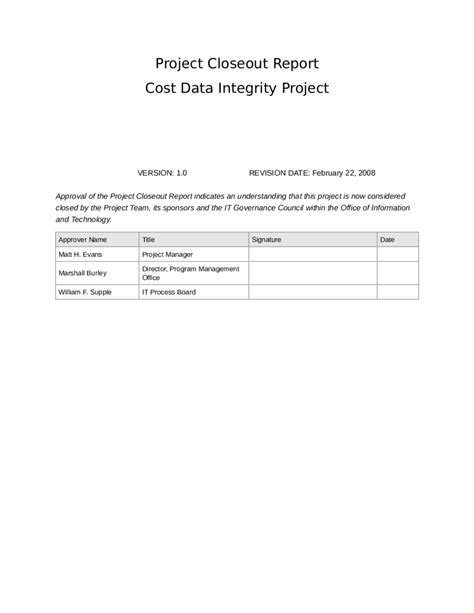 project closeout project closeout reportcost data integrity project edit