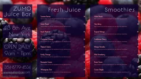Smoothie Juice Bar Digital Social Media Promo Menu Template Postermywall Digital Juice Templates