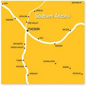 map of southern arizona cities southern arizona az community and school information