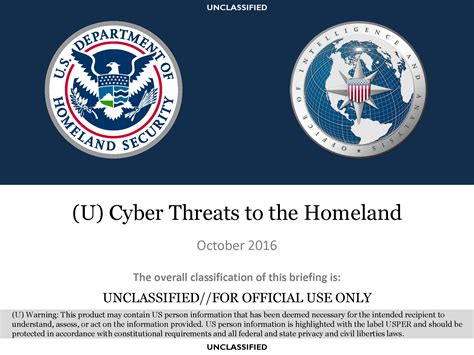 Dhs Search U Fouo Dhs Cyber Threats To The Homeland Presentation Intelligence