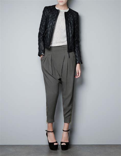 zara quilted leather jacket in black lyst