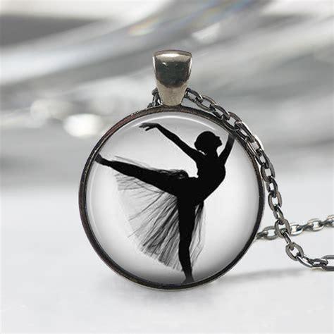 Ballerina Pendant Necklace ballerina silhouette pendant ballerina glass pendant