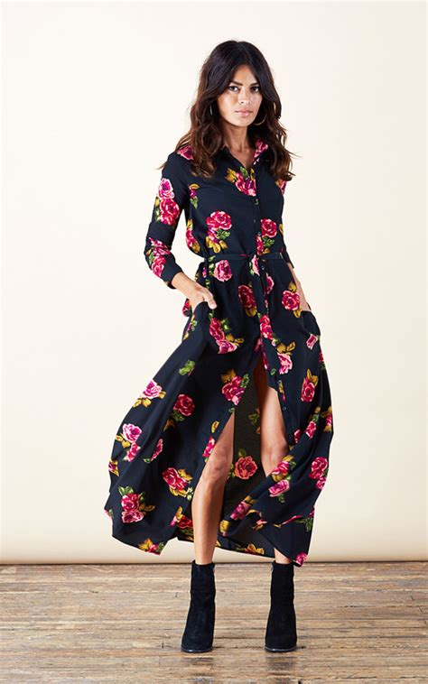 Printed Size M Part 1 maxi shirt dress in print silkfred