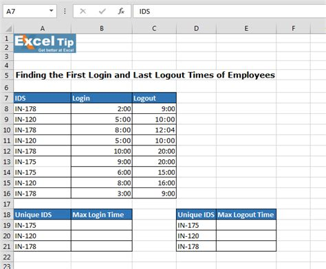 Finding The First Login And Last Logout Times Of Employees Microsoft Excel Tips From Excel Tip Employee Log Template Excel