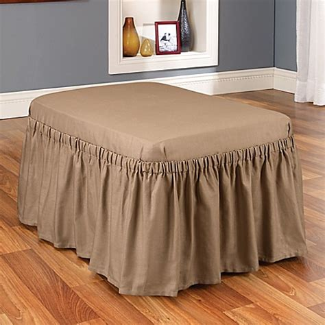 ottoman covers bed bath beyond buy sure fit 174 cotton duck ottoman cover in cocoa from bed