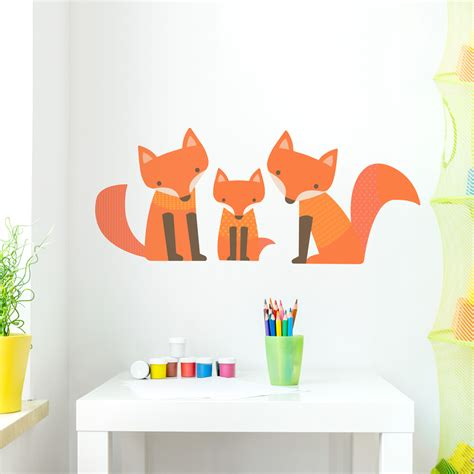 Wall Murals Tropical fox family printed wall decal