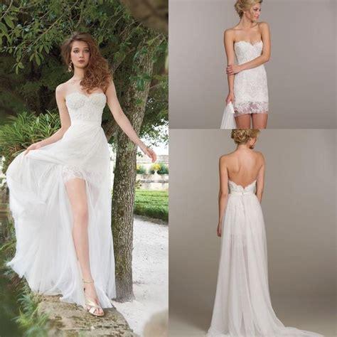 mini skirt wedding dresses unique detachable skirt chiffon beach a line wedding