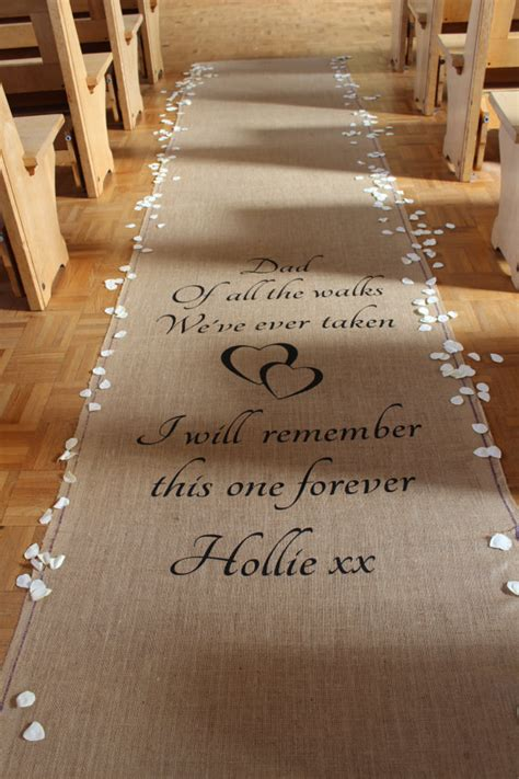 Small Wedding No Aisle by Personalised Hessian Aisle Runner