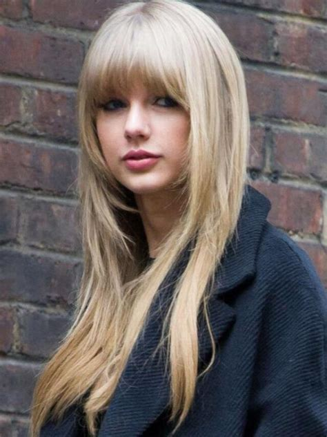 long hairstyles with bangs and frosted front pretty full bangs blonde lace front human hair wig hh012