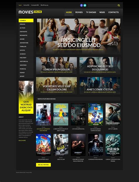 Online Cinema Wordpress Bootstrap Responsive Theme Templates Buy Website Templates Web Buy Website Templates