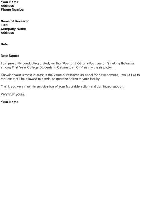 request letter permission distribute questionnaires