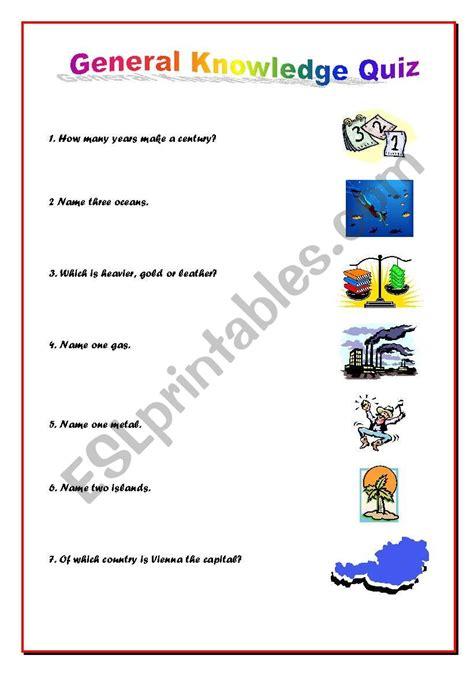 general knowledge worksheets general knowledge quiz esl worksheet by cintyamaria