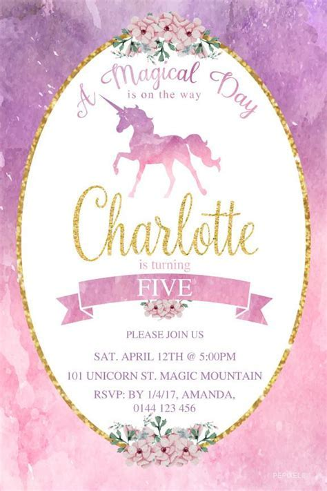 Unicorn Birthday Invitations, 1st Birthday Invitation