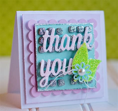 thank you cards to make glittery thank you card allfreepapercrafts