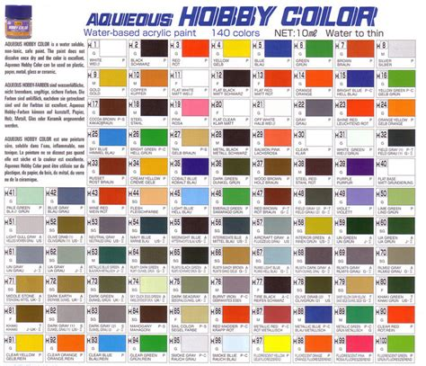 color cross gunze sangyo aqueous hobby color cross reference