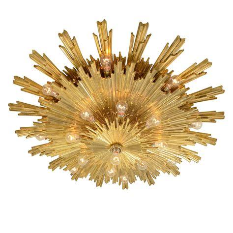Exceptional Gilt Bronze Sunburst Flush Mount By E F Caldwell Lights