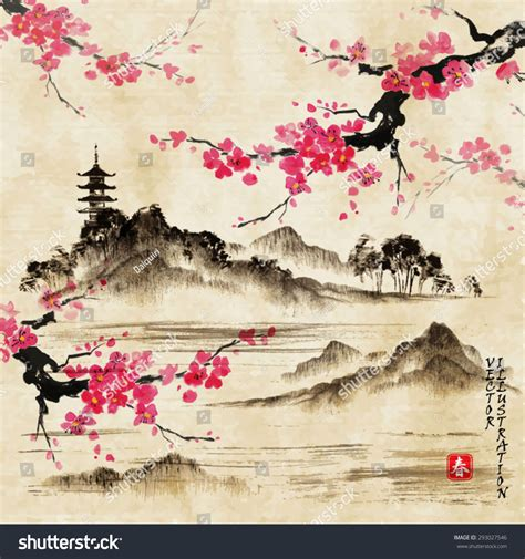 Traditional Japanese Drawings Landscape Branches Lake Traditional Stock