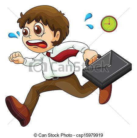imagenes de hurry up illustration of a late businessman on a white background