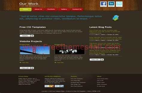 Html Themes With Css | wooden dark free css template download