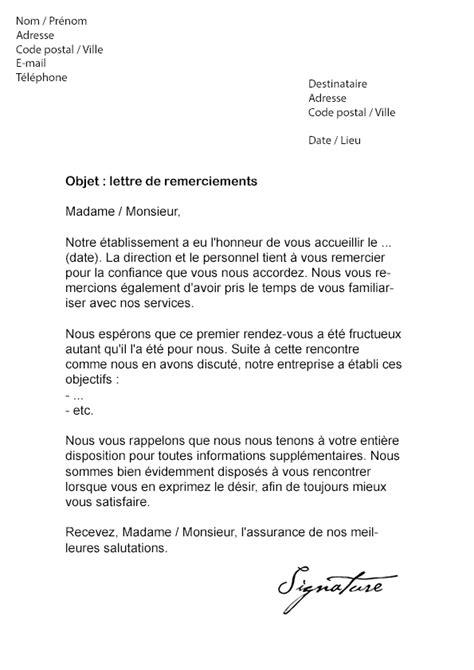 Exemple Lettre De Remerciement A Un Client Lettre De Remerciement 224 Un Client Mod 232 Le De Lettre