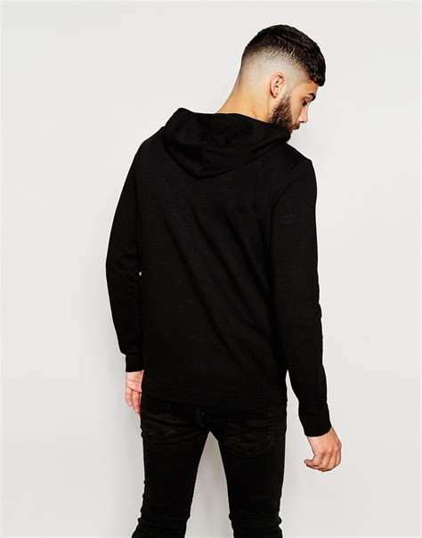 design roman clothes lyst asos knitted hoodie with roman numerals design in
