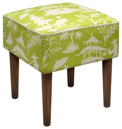 Green Bathroom Stool Chinoiserie Modern Vanity Stool Asian Vanity Stools
