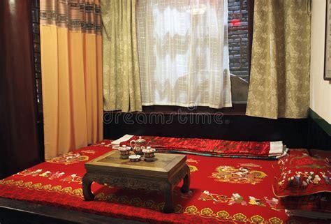 letto cinese da letto antica di cinese stile immagine stock