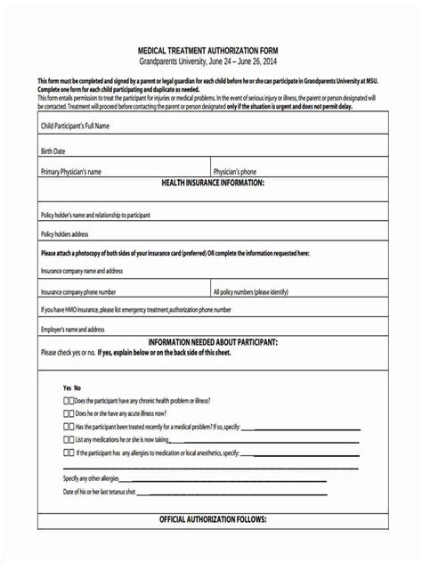 generic medical consent form for minor permission authorization