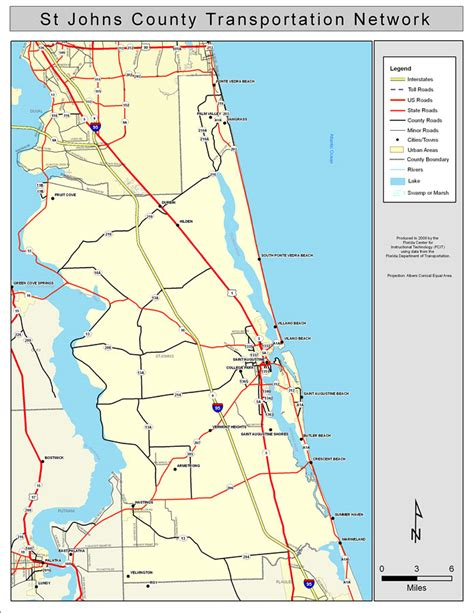map of st county florida st johns county road network color 2009