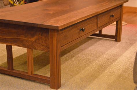 walnut quot mission quot coffee table with drawers boulder