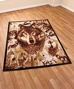 Amazon Com Wolves 59 Quot X 79 Quot Rectangle Rug Area Rugs Wolf Area Rugs