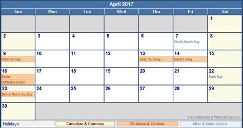 Calendar Buy Canada April 2017 Calendar With Holidays Canada Yearly Calendar