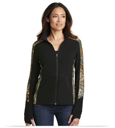 design full zip jacket design embroidered ladies camouflage microfleece full zip