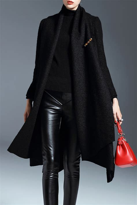 swing coats and jackets nordicwinds black wool blend shawl collar swing coat