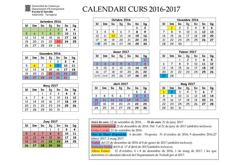 Calendario Escolar 2017 18 Mexico Calendari Escolar Curs 2016 17 Escola El Serrallo