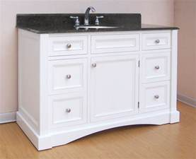 48 inch single sink bathroom vanity with white finish and