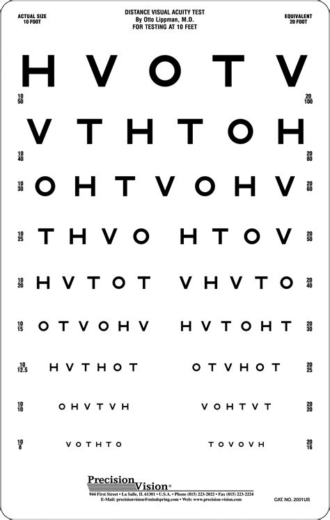 printable vision screening chart hotv eye chart 10 ft precision vision