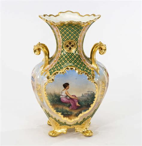 Royal Vienna Vase by Royal Vienna Painted 4 Sided Footed Vase W Raised