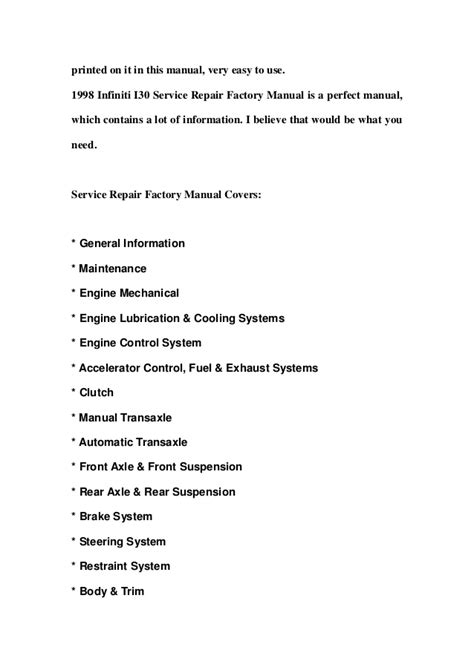 service manual 1998 infiniti i repair manual download 1997 1998 2001 infiniti qx4 workshop 1998 infiniti i30 service repair factory manual instant download