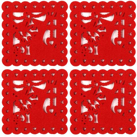 red felt chistmas set of table placemats coasters