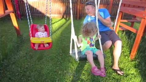 girls swing set the girls love their new swing set mandd627 youtube
