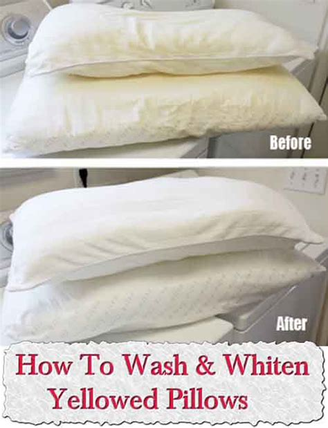 How To Get Yellow Stains Out Of Pillows by How To Wash Whiten Yellowed Pillows Diy Stains No Matter What And Sweat Stains