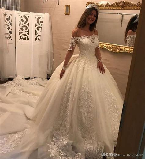 Romantic Off Shoulder Ball Gown Wedding Dresses Long