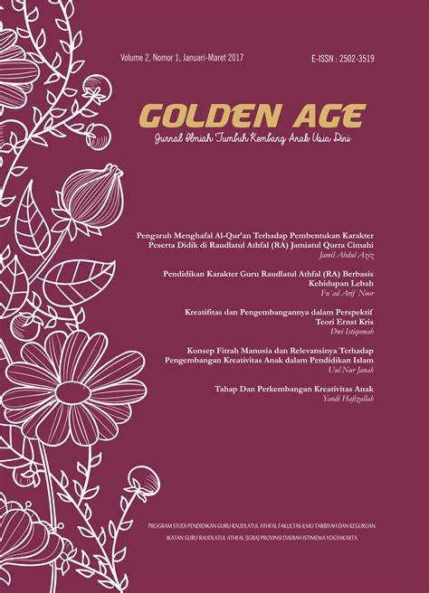 Jurnal Tarbiyah kreativitas dan pengembangannya dalam perspektif teori ernst kris golden age jurnal ilmiah